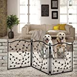 fence gate design Etna 3-Panel Leaf Design Metal Pet Gate - Decorative Tri Fold Dog Fence