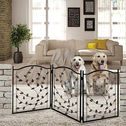 Etna 3-Panel Leaf Design Metal Pet Gate - Decorative Tri Fold Dog Fence