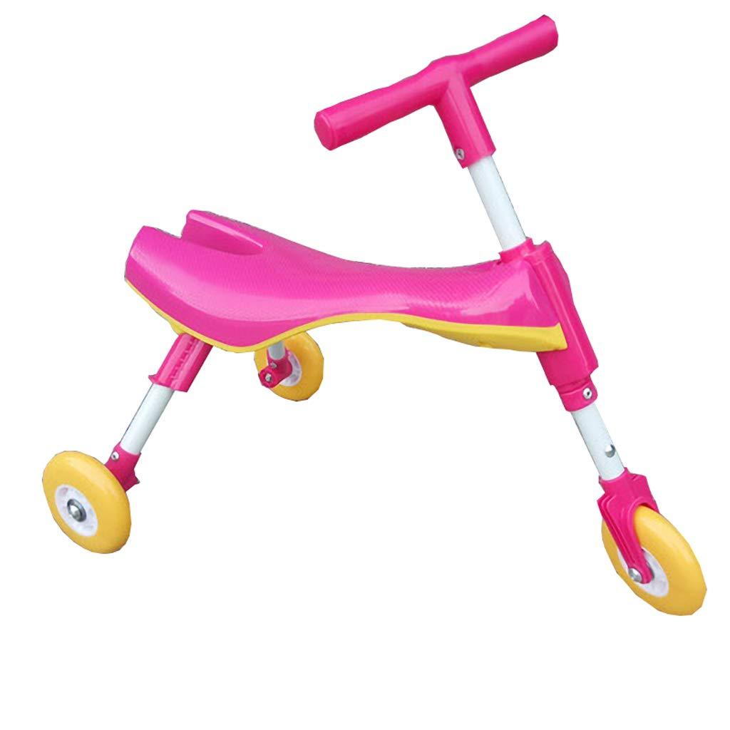 Frenos plegables Yo Car Baby Walker 1-6 años de edad Scooter Niños Triciclo infantil Equilibrio infantil (Color : Pink)