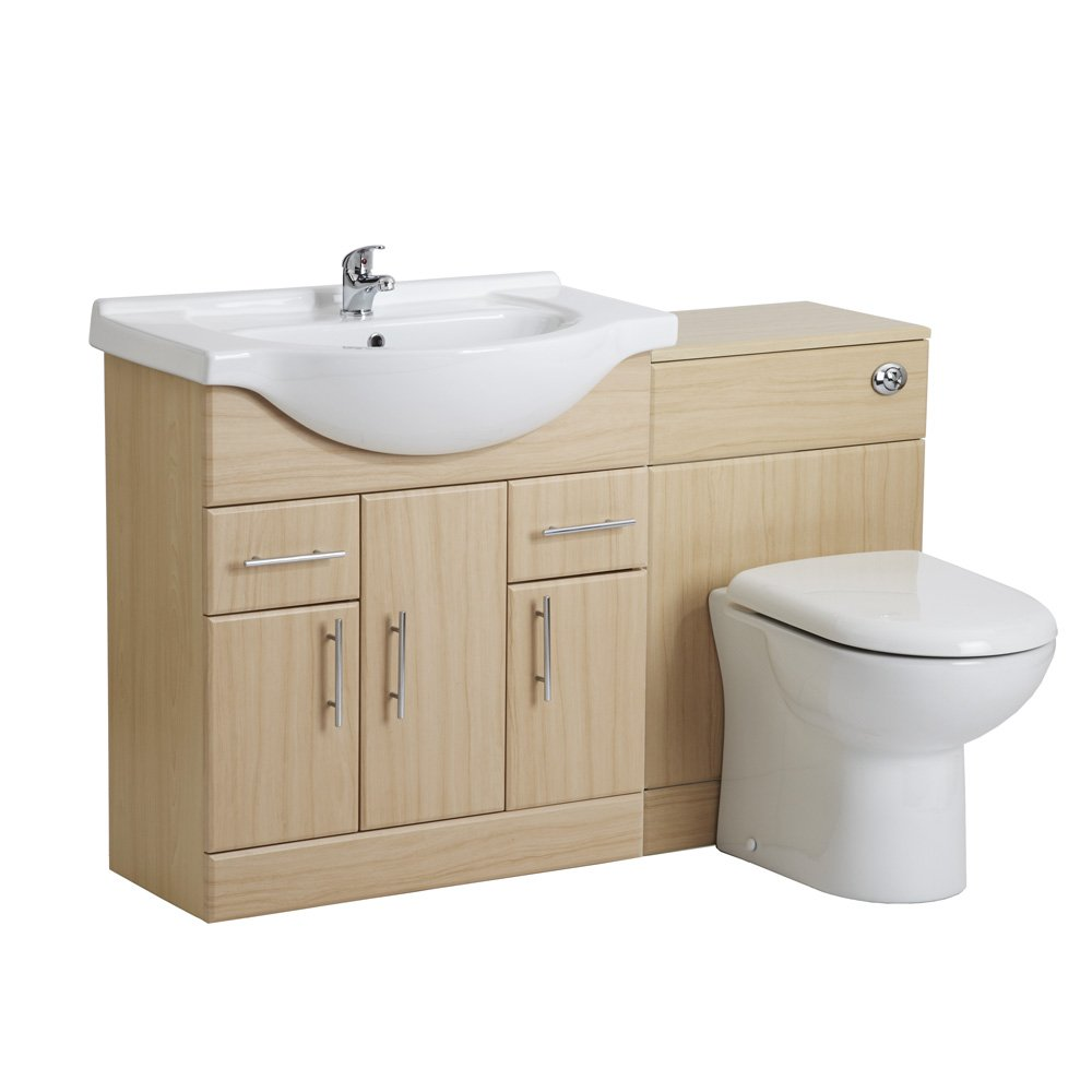 750mm Beech Wood Finish Bathroom Furniture Vanity Unit One Tap Hole ...