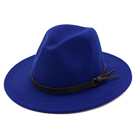 070953a143aa4 chenpaif Women Unisex Retro Classic Felt Shallow Fedoras Hat With Belt  Buckle Solid Color Wide Brim