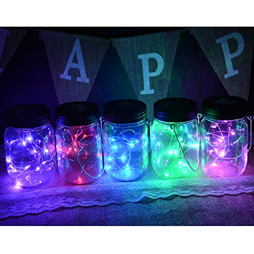 Abkshine 5 Pack Solar Mason Jar Light Insert, 10 LED Multi-colored Mixed Fairy Light Tea Light Deck Lamp for Garden Patio Yard Pathway Fence Decor(Jars Not (Fairy Accent Lamp)