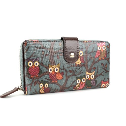 anladia brand ladies owl print designer oilcloth leather