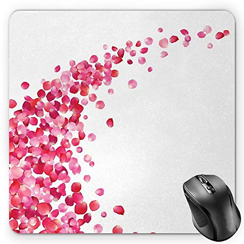- BGLKCS Pink and White Mouse Pad, White Background with Vibrant Rose Petals Vortex with Realistic Look, Standard Size Rectangle Non-Slip Rubber Mousepad, Magenta White
