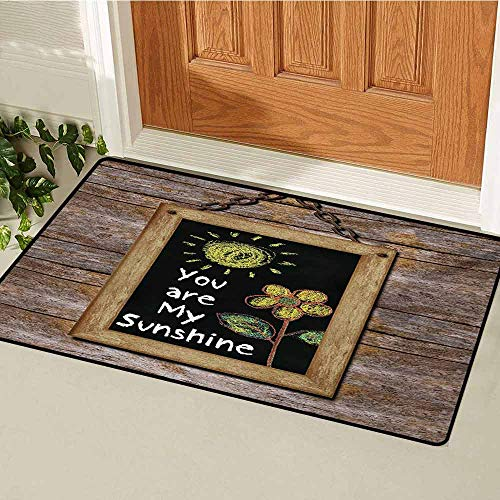 GUUVOR Quote Inlet Outdoor Door mat Love Valentines Phrase with Flower and Hand Drawn Sun Figure on Framed Wooden Wall Catch dust Snow and mud W35.4 x L47.2 Inch Multicolor