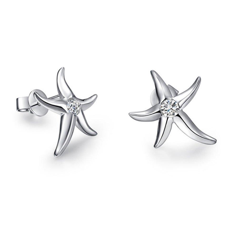 Paialco Cute Starfish Stud Earrings Cubic Zirconia Inlayed Silver Women Ear Studs