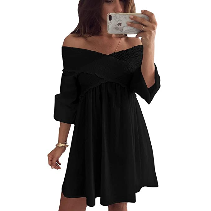 087885ce2 Vestido de Mujer Sexy Fuera del Hombro Pliegues V-Cuello Color sólido  Mangas largas Falda de una línea de Cintura Alta Poliéster Hueco Vestido de  Mujer ...