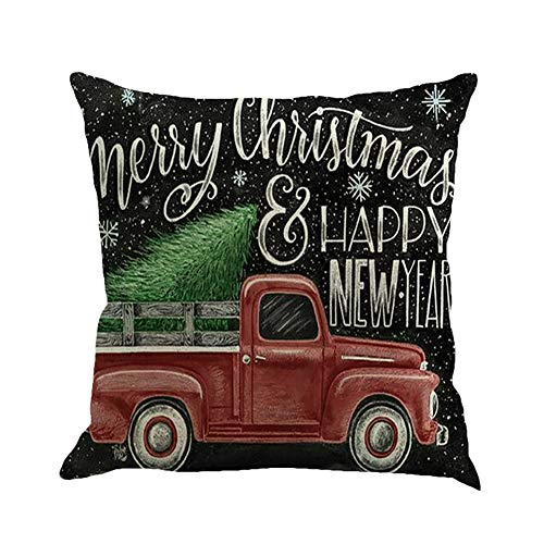 Fairylove 18 x 18 mas Linen Cushion Cover Pillowcases with Zippers Decorative Truck Series Sofa Car Cushion Covers,Red Truck