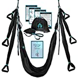 Aerial Yoga Swing Set - Yoga Hammock Swing - Trapeze Yoga Kit + Extension Straps & eBook - Wide Flying Yoga Inversion Tool - Antigravity Ceiling Hanging Yoga Sling - Women Men Kids Arial Acro (Black)