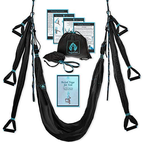 Aerial Yoga Swing Set - Yoga Hammock Swing - Trapeze Yoga Kit + Extension Straps & eBook - Wide Flying Yoga Inversion Tool - Antigravity Ceiling Hanging Yoga Sling - Women Men Kids Arial Acro (Black) (Sex Door Swing)