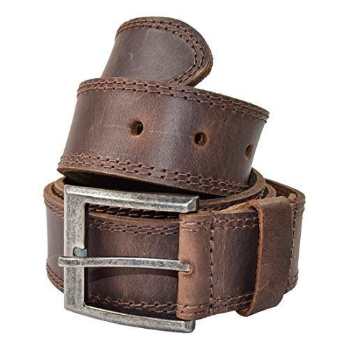 Men's Two Row Stitch Leather Belt Handmade by Hide & Drink :: Bourbon Brown (Size 26)