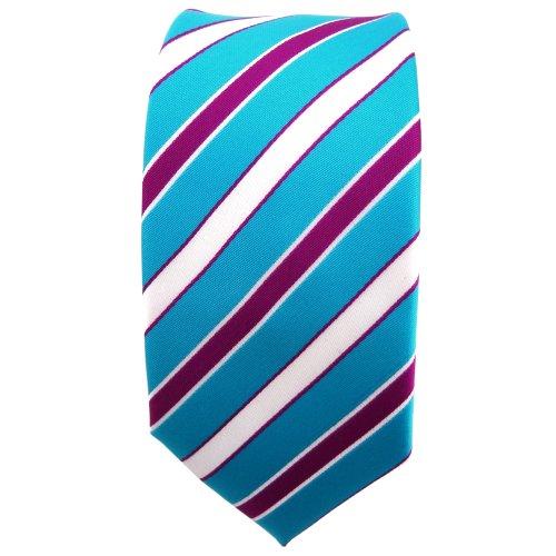étroit TigerTie cravate turquoise turquoise blanc magenta lila rayé - Tie