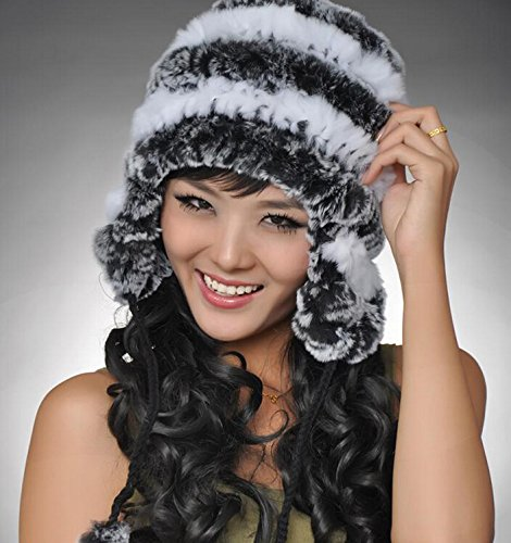 Easting Women's Rex Rabbit Fur Hats Winter Ear Cap Flexible Multicolor (Gray&White)