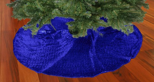 (ShinyBeauty Royal Blue-Christmas Tree Skirt-48-Inch,Sequin Christmas Tree Stand Cover,Glitzy Sequin Fabrics Tree Skirt)