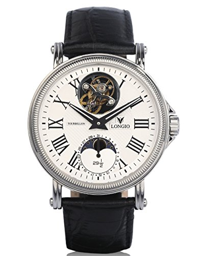 LONGIO_Limited Edition Flying Tourbillon Watches with Moon Phase Luxury Watches (silver) by Longio