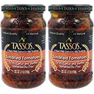 Tassos Sundried Tomatoes with Garlic and Herbs, Metabisulfite-Free, Net. Wt. 12oz (2-Pack)