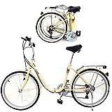 KROCK Bicicleta Plegable R24 Shimano 6 Velocidades Ligera Retro Vintage Neumtico Cara Blanca Soporte Trasero Unisex