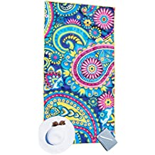 Microfiber Beach Towel for Travel - Quick Dry, Sand Free, Travel Beach Towel in Designer Paisley, Tropical & Boho Beach Towel Prints for Beach, Travel, Cruise, Outdoor, Gifts for Women L, XL