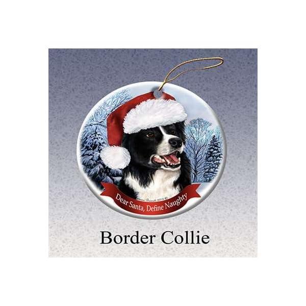 Holiday Pet Gifts Border Collie Santa Hat Dog Porcelain Christmas Tree Ornament 1