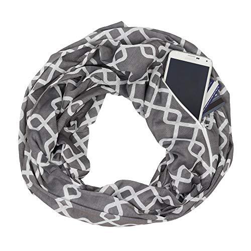 - Womens Interlocking Chain Square Pattern Scarf w/Zipper Pocket - Pop Fashion (Grey)