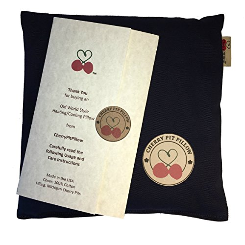 Old World Style Cherry Pit Pillow in Blue - For Neck, Muscle Pain - Soft 100% Cotton - Microwavable - Cherry Stone Heat Pack - Heat Pad - Unique Gift - Made in USA