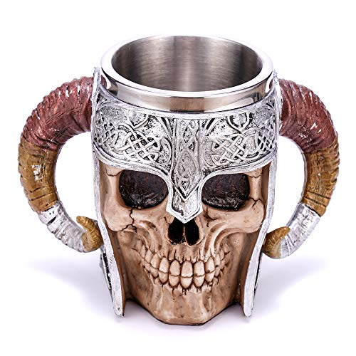 Arola Stainless Steel Double Handle Horn Skull Beer Cup, Viking Warrior Skull Mug Tankard, Medieval Skull Drinkware Mug for Coffee/Beverage/Juice 17oz.