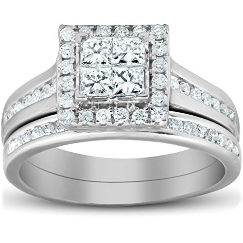 (1 Ct TDW Princess Cut Halo Diamond Engagement Wedding Ring Set 10k White Gold - Size 7)