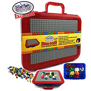 "Matty's Toy Stop Brik-Kase 2-GO 13"" Travel, Building, Storage & Organizer Container Case with Building Plate Lid (Holds Approx 1,500pcs) - Compatible with All Major Brands (Blue, Red & Gray)"