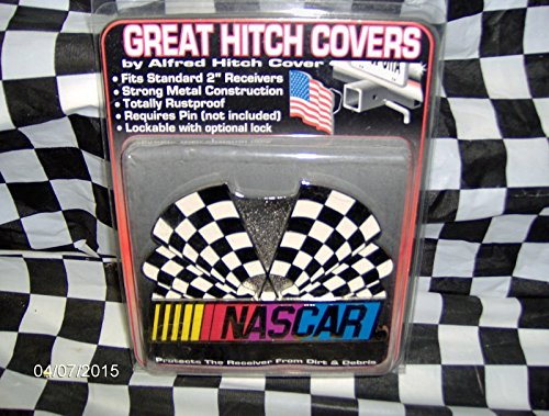 NASCAR Logo Checkered Flags Hitch Cover For 2 Inch Receiver Alfred Hitch -