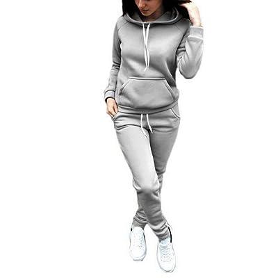 Sfit Femme 2 Pièce Ensemble Femme Survêtement Sweat-shirt Manches Longues  Pull à Capuche Pantalon Longues Gym Yoga Jogging Fitness Casual pour  Automne Hiver b7e52701372