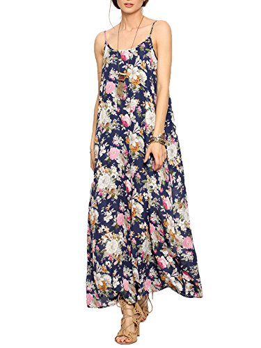 Milumia Women's Spaghetti Strap Cami Slip Maxi Dress Medium ()
