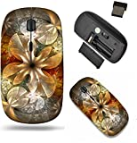 Liili Wireless Mouse Travel 2.4G Wireless Mice with USB Receiver, Click with 1000 DPI for notebook, pc, laptop, computer, mac book ID: 27961934 gold fractal flower with blue details on petals on black