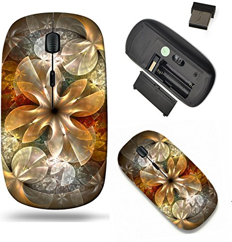 Liili Wireless Mouse Travel 2.4G Wireless Mice with USB Receiver, Click with 1000 DPI for notebook, pc, laptop, computer, mac book ID: 27961934 gold fractal flower with blue details on petals on black by Liili