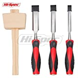 Hi-Spec All-In-One 4pc Hardened Steel Wood Chisel(1/2,3/4,1'') & Beech Mallet Set for Woodcarving, Carpentry, Sculpting, Framing, Woodturning, Touching Up Furniture, Crafts & General Woodworking Tasks