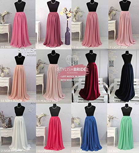 (Chiffon Bridesmaids Simple Skirts, Bridesmaids Chiffon Skirts, Pale Blush Pink Raspberry Blue Green Grey Chiffon Skirt, Bridesmaids Dress)