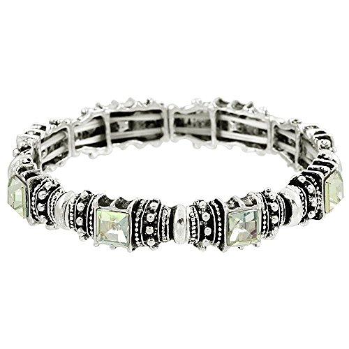 Falari Vintage Acrylic Crystal Antique Silver Stretch Bracelet Clear AB ()