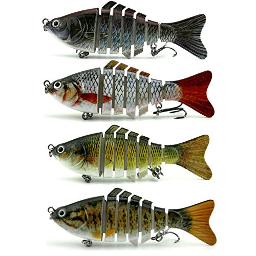 (4 PCS Fishing Lure Hard Bait Bass For 7 Segment Trout Swimbait Life-Like Swimming As Life Fish (Style-4pcs))