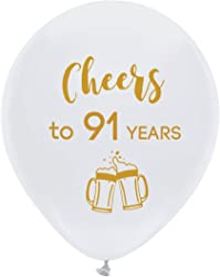White Cheers to 91 Years Latex Balloons