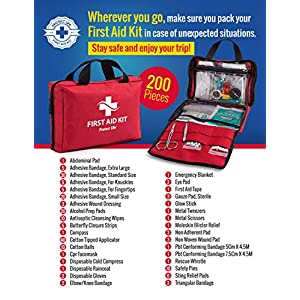 First Aid Kit – 200 piece – for Car, Home, Travel, Camping, Office or Sports | Red bag w/reflective cross, fully stocked with essential supplies for Emergency and Survival