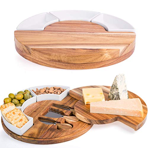 Wood Cheese Set - Shanik Cheese Cutting Board Set - Charcuterie Board Set and Cheese Serving Platter. Perfect Meat/Cheese Board and Knife Set for Entertaining and Serving. 3 Knies, Ceramic Bowl and Wine Server Plate.