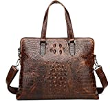 Heshe Vintage Leather Crocodile Men Handbags Messenger Briefcase Business Shoulder Bag Work Tote Fit Laptop (Dark Brown)