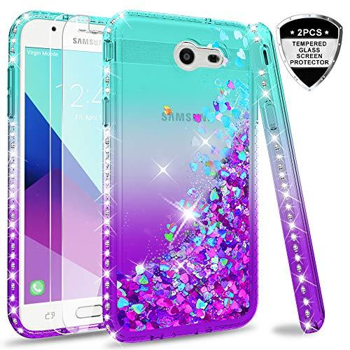 Samsung Galaxy J3 Prime/ J3 2017/ J3 Eclipse/ J3 Emerge/J3 Mission/J3 Luna Pro/Express Prime 2/Amp Prime 2 Glitter Case w/Tempered Glass Screen Protector, LeYi Liquid Case (Not fit J3 2018)Teal/Purple