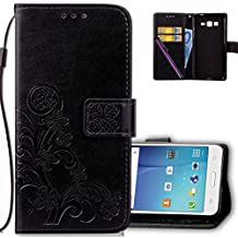 Samsung G530 Wallet Case Leather COTDINFORCA Premium PU Embossed Design Magnetic Closure Protective Cover with Card Slots for Samsung Galaxy Grand Prime G530. Luck Clover Black