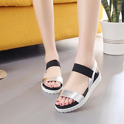 Deesee (tm) Sandales De Mode Femmes Âgées En Cuir Sandales Plates Dames Chaussures Argent