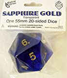 Transparent Sapphire with Gold Numbers 20 Sided Dice 55mm Koplow by Koplow Games