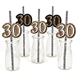 Adult 30th Birthday - Gold - Birthday Party Straw Decor with Paper Straws - Set of 24