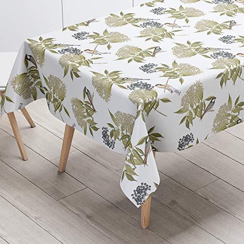 Blanc 129 x 290 cm Izabela Peters de Luxe Designer Toile Cirée PVC Nappe Entrecravaten Facile Oiseau sur Fleur de Sureau - Blanc, 129 x 290 cm