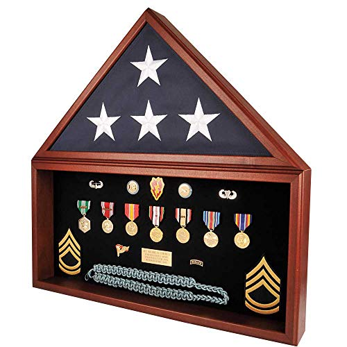 Medals of America USA Made Combo Flag Case for 5' x 9' Flag Burial Flag Cherry -