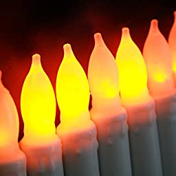 12 Mini Ivory Flameless Tapers with Warm White LEDs, Wax Dipped, Batteries Included