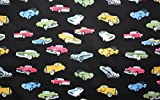 Vintage Car Printed Black Colour 100% Cotton Fabric **FREE UK POST** Kids Children Nursery Early Learning Fun Craft Vintage Cars Boys Fabric Zoom Bunting Bed Sheet Cover Quilting Material Patchwork (Sample (10cm x 10cm))